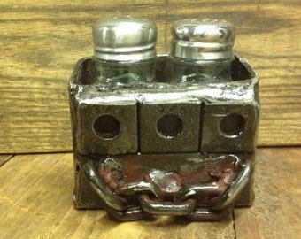 Rustic Metal Industrial Steampunk Chain Salt & Pepper Shaker Holder Upcycled