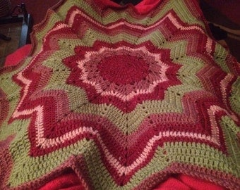 READY TO SHIP 12 point crochet star afghan/lapghan