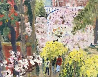 "Original oil painting, fine art impasto impressionism, ""Garden of the Forbidden City, Beijing"""