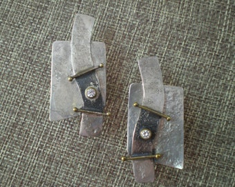 Handmade Silver and Brass Earrings