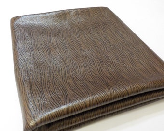 Fabric Remnant / Brown Pleather /  Woodgrain