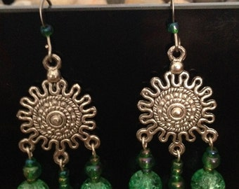 Handmade Jewelry. Green Earring