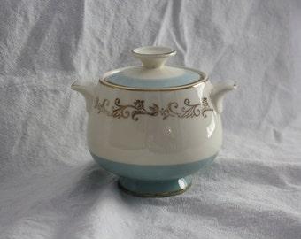 Vintage Sugar Bowl - Midcentury China - White w/ Robin's Egg Blue Band & Gold Embellishments - 50's