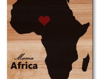 Real WOOD custom wall art print-Africa map-Home decor-Wood print