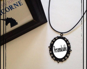 """Necklace leather """"Customizable"""" 30 * 40mm"""