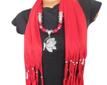 Fashion Jewelry Scarf With Crystal Peacock Pendant Red butterfly pendant scarf