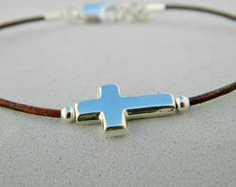 Leather and sterling silver bracelet. Beaded cross. Cross bracelet. Sideways cross bracelet. Frienship bracelet. Leather bracelet.L009