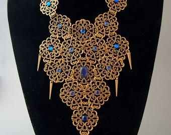 "Breastplate necklace ""Nefertiti"" / Ancient Medieval Fantasy / Egypt Cleopatra / Cabochon Rhinestone / Rivet  / Color Blue"