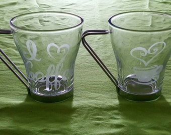 """Etched Glass Coffee Mugs. Set of 2. """"I love coffee"""" & Heart-Steam Cup"""