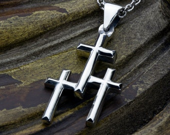Cross Family Series Necklace Pendant With Three Simple Crosses Sterling Silver Christian Jewelry
