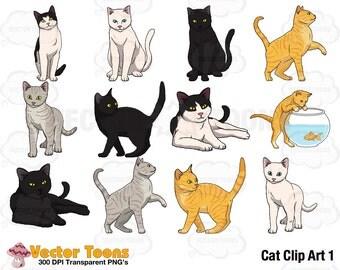 Cat Clip Art 1, Digital Clipart, Digital Graphics