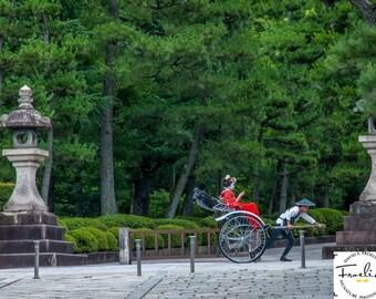 """Bright Red Kimono - """"Kyoto Joyride"""" - Fine Art Color Photograph (9.5"""" x 13.25"""" Print on 14"""" x 18"""" Board)"""