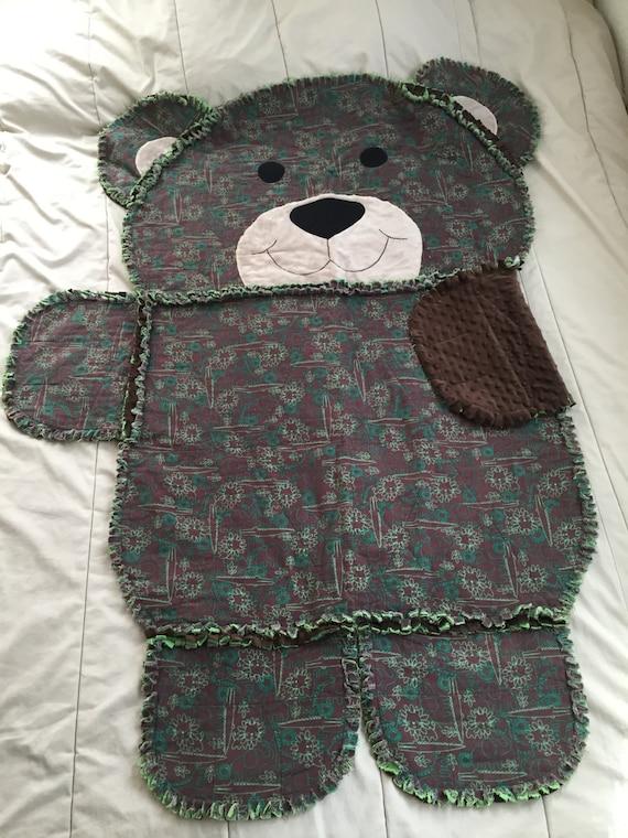 Rag Quilt Pattern Bear : Items similar to Animal Rag Quilt, Rag Quilt, Animal Shaped Quilt, Bear Quilt, Child s Rag Quilt ...