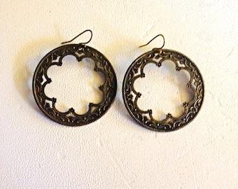 Vintage Loop Dangle Earrings, Bronze tone, Star Burst, bohemian style, 1980s