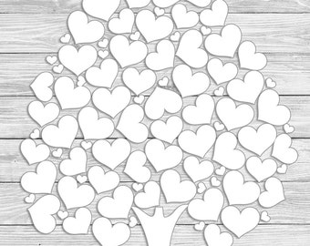Personalized Wedding Guest Canvas. Grey Wood Design. Guest Book Alternative. 58 Blank hearts