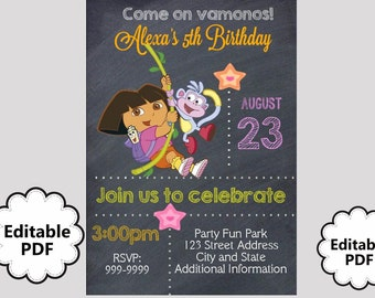 EDITABLE TEXT Dora the Explorer Birthday Invitation - Dora the Explorer Party Invites - Dora the Explorer  - Instant Download