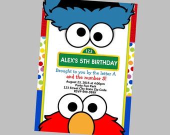 Elmo Birthday Invitation 4x6 or 5x7