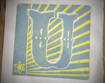 Letter ' U ' handprinted linocut 15cm x 15cm print