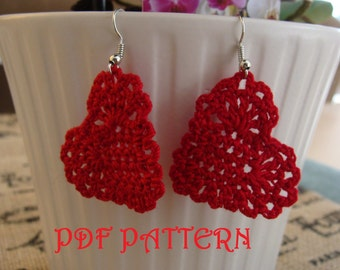 Crochet Heart Earrings PDF Pattern