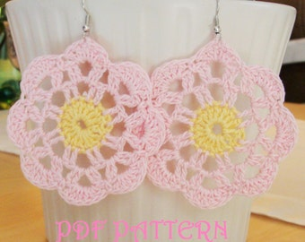 Crochet Flower Earrings PDF Pattern Venice