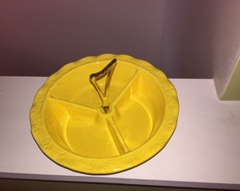Vintage California Pottery Yellow Divided Dish With Gold Handle