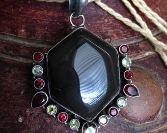 Sterling Silver, Citrine, Garnet Hexagon Shaped Pendant