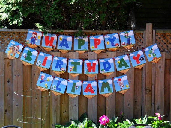 Super Mario Brothers - Customizable Birthday Banner - Includes all Letters of the Alphabet Super Mario Birthday Banner Super Mario Bros
