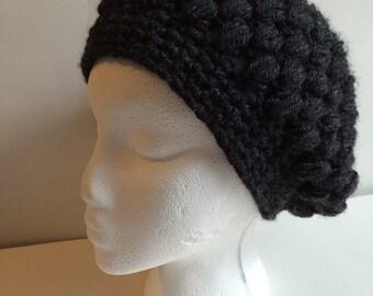 Dark Grey Crocheted Slouchy Hat