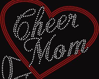 Rhinestone Personalized Cheer Mom Shirt