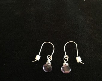 Amethyst briolettes on sterling ear wire