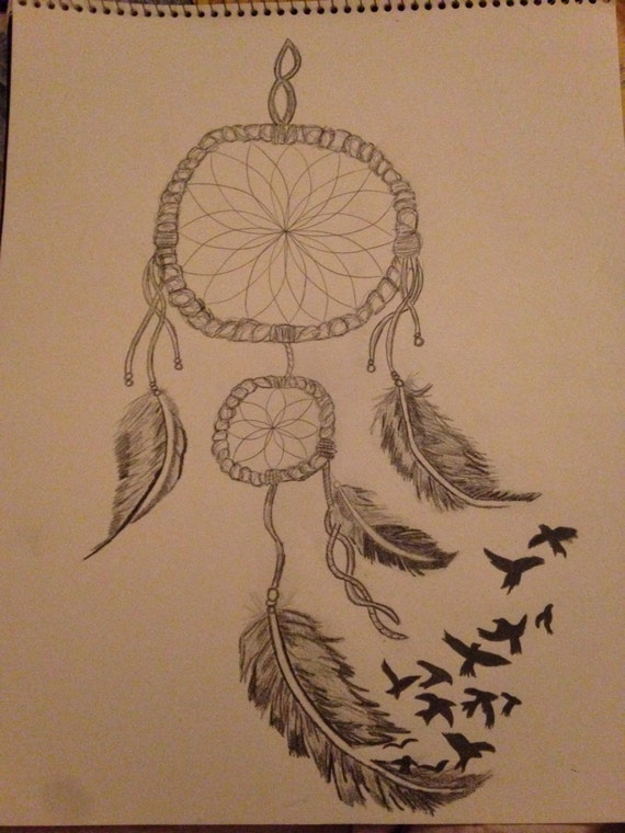 Items similar to dream catcher original pencil drawing for Acchiappasogni disegno