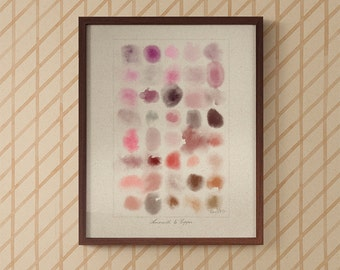 Watercolour in Amaranth to Copper art print