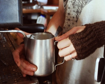 Mitts for Baristas - Coffee-brown Handspun Wool Fingerless Gloves from Melbourne