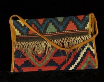 mid century Caucustan rug - Clutch Bag