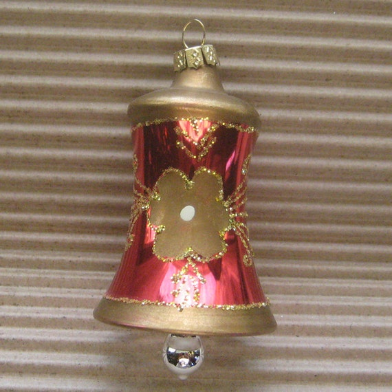 Vintage christmas ornament bell hand blown glass by