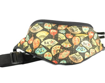 Fanny pack Asian Fan fabric - Cute  - Hip Waist Bag for travel, sport, and hiking - 2 zipper