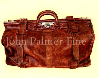 Antique doctor's bag -  Greeting card from my painting of an old Gladstone bag