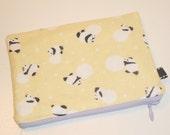 Modern Japanese Panda & Snowball Print Zippy Pouch -- Yellow