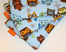 Padded Zippered Pouch / Camera Bag/ Cosmetic Clutch / Phone Wallet -- Kawaii Cutie Hootie Owls (Other Colors Available)