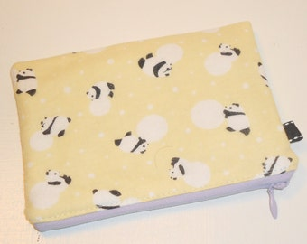 Modern Japanese Panda & Snowball Print Zippy Pouch -- Yellow