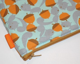 Kawaii Padded Zip Pouch / Woodsy Wallet / Squirrel & Nuts Camera Case/ Gadget Protector / Cosmetic Bag / Coin Purse - Other Colors Available