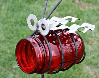 Ladybug birdfeeder Made in USA by JunkFX