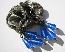 Unsigned MIRIAM HASKELL Pin / Beautiful BLUE Glass Beads / Vintage 1930's Brooch