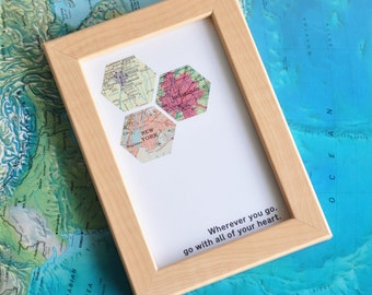 Moving Away Gift Study Abroad Gift Map Art Custom Framed Geometric Hexagon Recycled Maps