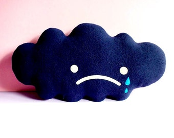 Dark Cloud Cushion, Dark Cloud Plush, Dark Cloud Pillow, Sad Cloud, Crying Cloud, Rain Cloud, Huggable Cloud, Decorative Cloud, nursery toy
