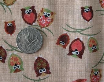 JAPANESE Cutest OWLS Print Fabric Retro 1FQ Beige