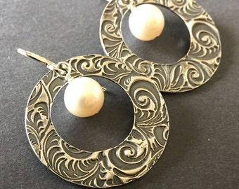 Wreath, White Freshwater Pearl, Fine Silver, Sterling Silver Hoop Earrings, erinelizabeth