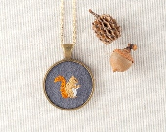 Squirrel Jewelry - Squirrel Necklace - Embroidered Wool Felt Necklace - Animal Portrait - Circle Pendant - Gold Plated - Woodland Jewelry