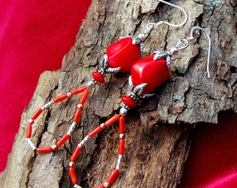 Red Coral Earrings with Sterling Silver and Copper Beads; Southwestern Style, Perfect for Valentines Day