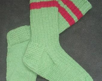 Hand Knit Wool Socks - Fern Green - Medium